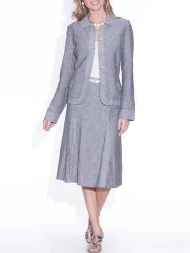 Veste col arrondi, en tissu fil à fil - Anne Weyburn - Modalova