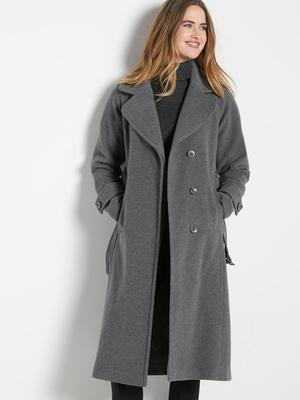 Manteau long drap de laine 7% cachemire