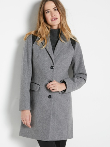 Manteau coupe droite en drap de laine - Balsamik - Modalova
