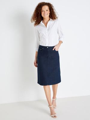 Jupe jean courte, stature plus d'1,60m