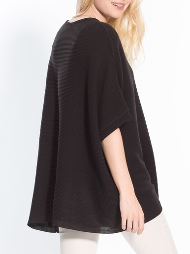 Pull ample poncho fine maille