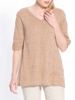 Pull manches courtes maille fantaisie