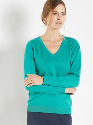 Pull chic, uni, encolure V