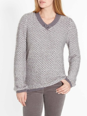 Pull maille fantaisie, encolure V