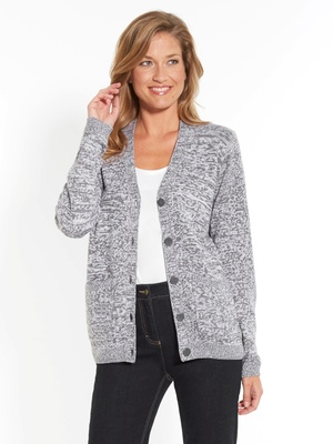 Gilet chic maille bicolore encolure V
