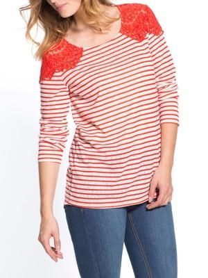 Tee-shirt rayé fantaisie de guipure