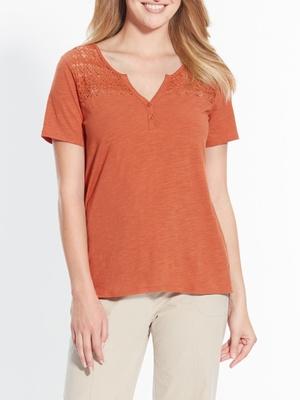Tee-shirt, dentelle aux épaules
