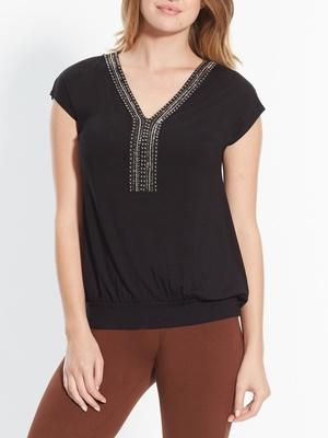 Tee-shirt avec perles fantaisie