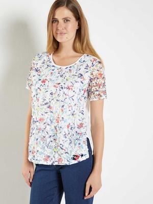 Tee-shirt fleuri fantaisie dentelle