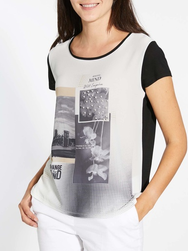 Tee-shirt bi-matière détails strass