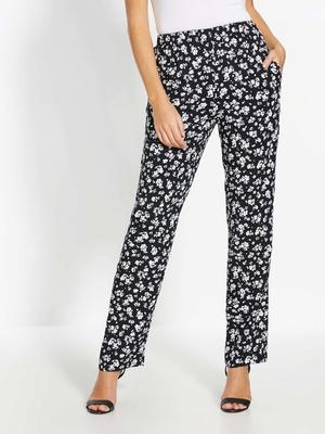 Pantalon fluide élastiqué style fleuri