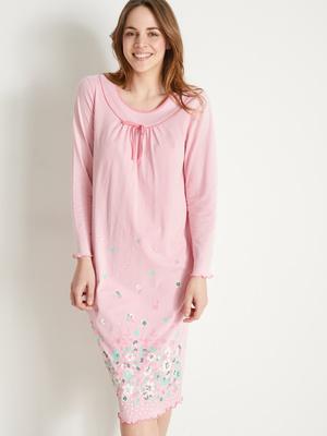Chemise de nuit manches longues en coton