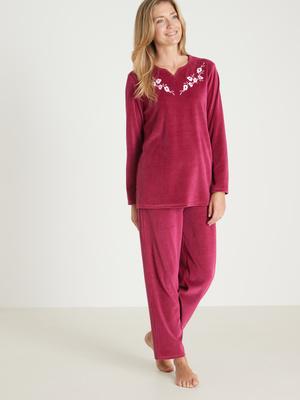 Pyjama manches longues en maille velours