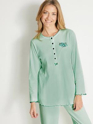 Pyjama manches longues détail broderie