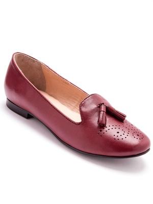 Slippers cuir à pompons grande largeur