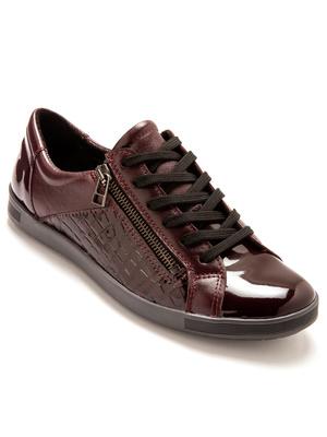 Baskets zippées et cuir brillant