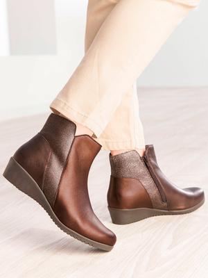 Boots, cuir bicolore Pédiconfort®