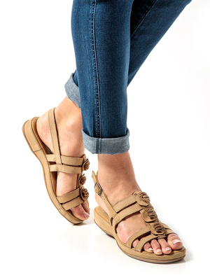 Sandales cuir confort fantaisie fleur