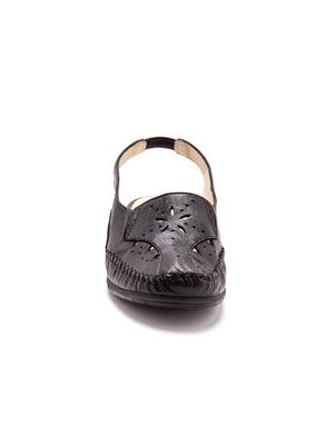 Sandales cuir ajouré, talon 4cm