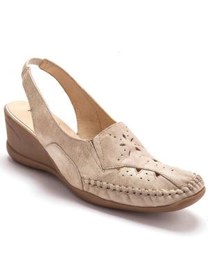 Sandales talon 5cm en cuir ajouré