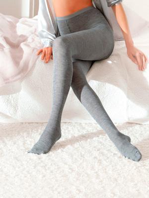 Collant en maille, laine et polyamide