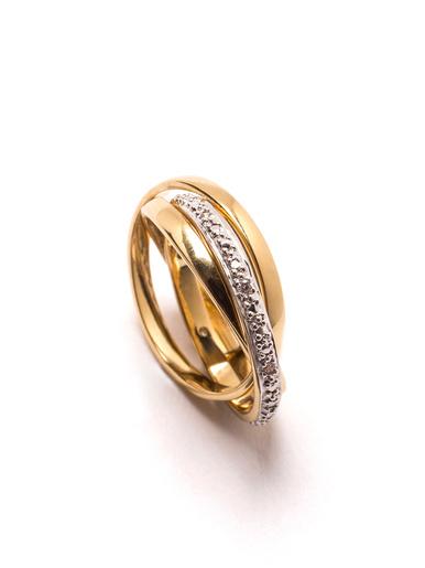 Bague anneaux plaqué or zirconias blancs