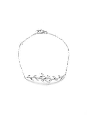 Bracelet feuilles en maille fine argent