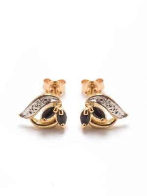 Boucles d'oreille saphir plaqué or