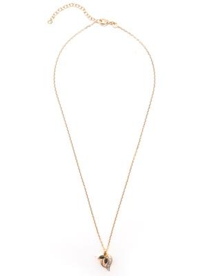 Pendentif saphir, chaîne 45cm, plaqué or