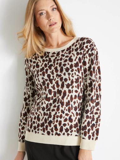Pull jacquard façon léopard