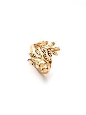 Bague motif feuilles, plaqué or