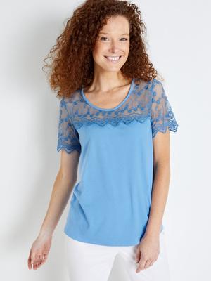 Tee-shirt bi-matière fantaisie chic