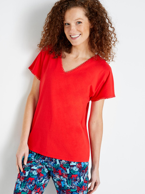 Tee-shirt fantaisie, encolure V