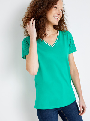 Tee-shirt pur coton, manches broderie