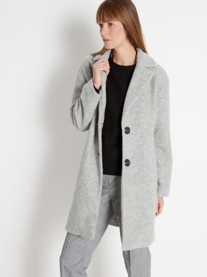 Manteau droit coupe 3/4, 50% laine