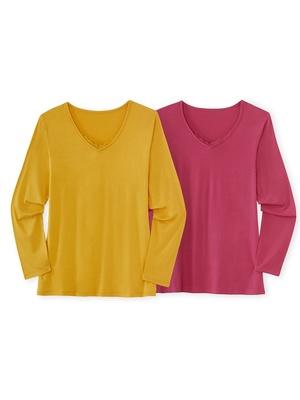 Lot 2 t-shirts manches longues, dentelle