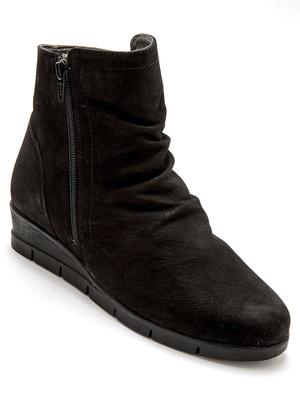 Boots zippées plissées, semelle amovible