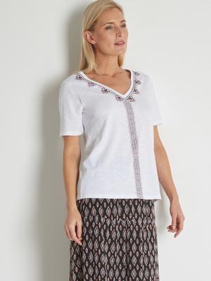 Tee-shirt graphique pur coton flammé