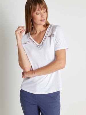 Tee-shirt pur coton détails macramé