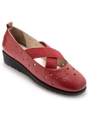 Chaussures tout cuir élastiques croisés