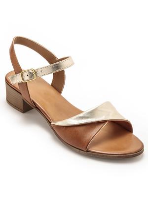 Sandales bicolores à petit talon