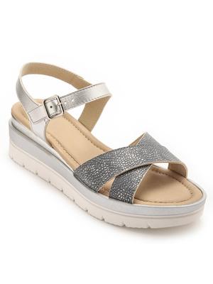 Sandales métallisées boucle réglable