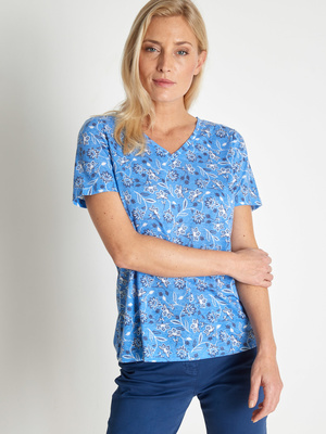 Tee-shirt encolure V mélange lin