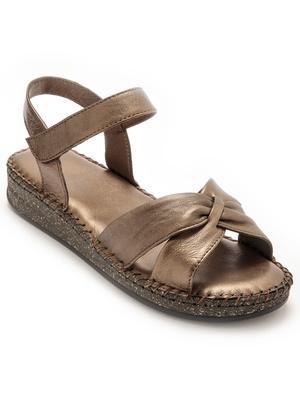 Sandales à scratch effet plissé