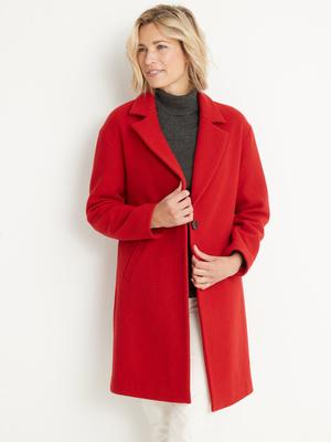 Manteau droit 34% laine longueur 3/4