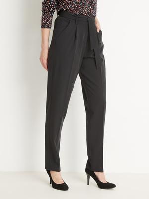 Pantalon taille haute élastiqué dos
