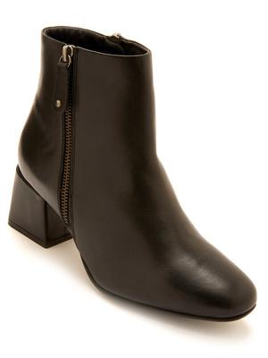 Boots double zip en cuir