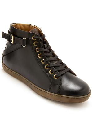 Sneakers cuir zippés et lacés