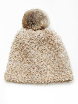 Bonnet avec laine et mohair à pompon