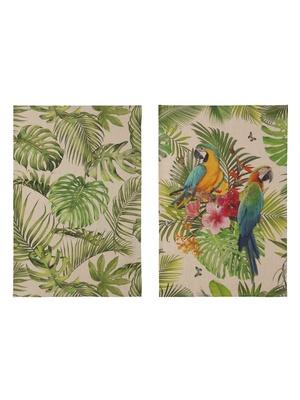 Lot de 2 torchons jungle et tropical